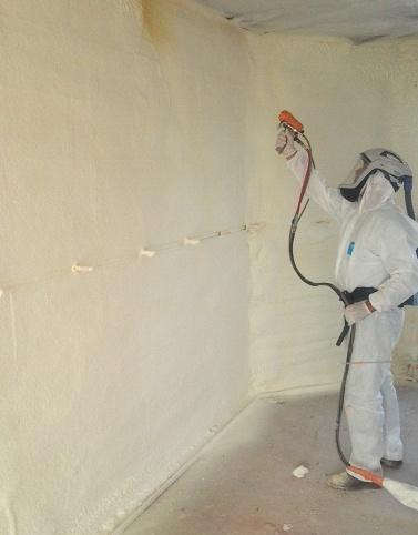 Isolation thermique mur polyuréthane PU projetée, mousse  isolante