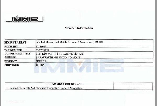 Export Association Certificate