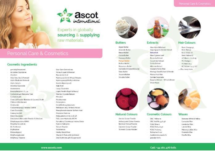 Ascot PC & Cosmetics Product List
