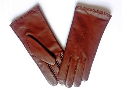 Women's gloves leather black/cognac/chestnut
