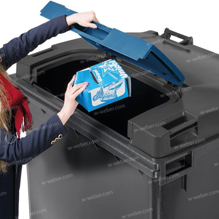Wheelie bin, mobile bin, 1100 litre flat lid, Lid in Lid
