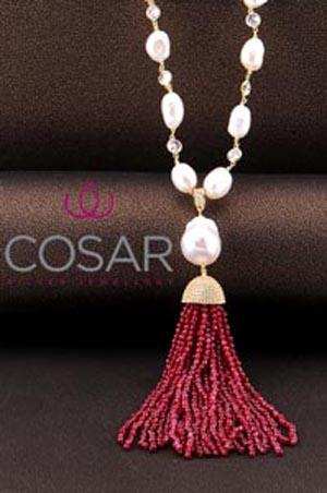 Necklace with 925 sterling silver and Red Ruby Agate and reall Fresh Pearl