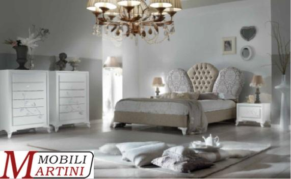 1-drawer bedside table with soft closing - Chest of drawers with soft closing - Double bed with upholstered leatherette capitoné