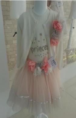 1 pcs  cardigan,1 pcs  body   round rim with long sleeve, 1 pcs skirt ,3-4-5 ages