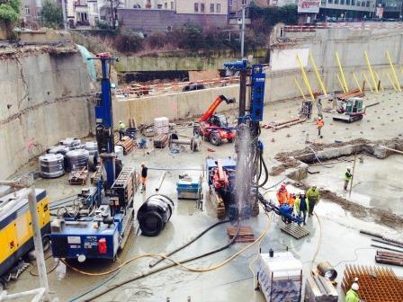 Trebel site: foundations for the 'W. Martens' European Parliament building