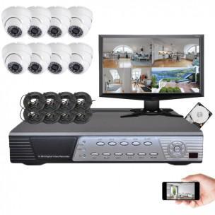 Kit de 8 caméras avec enregistreur, écran et câbles...