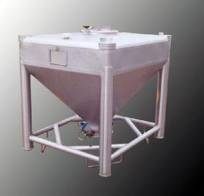 Conteneurs inox ou aluminium capacité de 1 litre à 3200 litres équipés d'une vanne papillon. Conteneurs pour poudres, pulvérulents et granulés