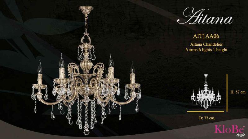Luminaria de estilo clásico con 6 brazos y 6 luces, disponible en varias decoraciones, fabricadas en latón, con o sin cristal, conoce toda la colección en nuestra web. 57x77 cms. y 10 kgs de peso.