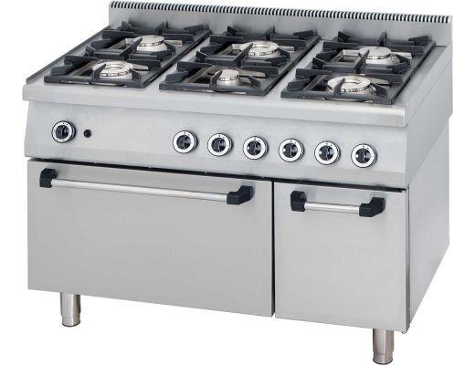 Cucina Professionale a Gas 6 Fuochi Con Forno Kw 42.5 Dim 120x70x90h