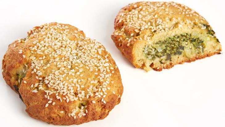 Mini Spinach & Feta Cheese Pies with 100% extra virgin olive oil, topped with sesame seeds- Pre baked Code 481