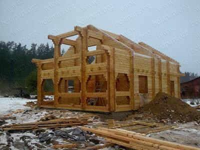 Construction of wooden houses from profiled beam.The house is suitable for year round living.