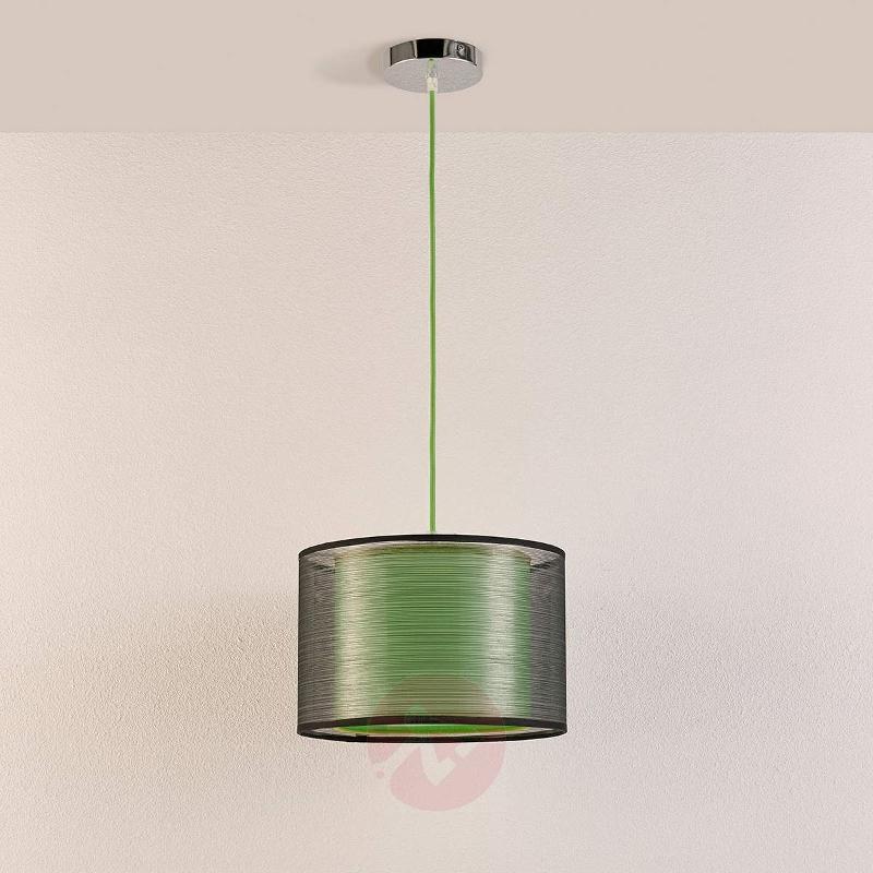 Green fabric hanging lamp Jasna - Pendant Lighting