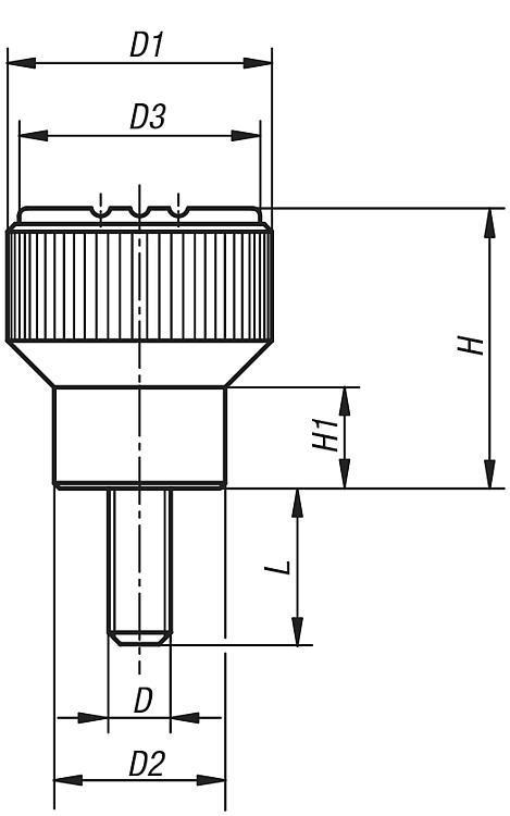 Bouton strié antistatique - Poignées et boutons