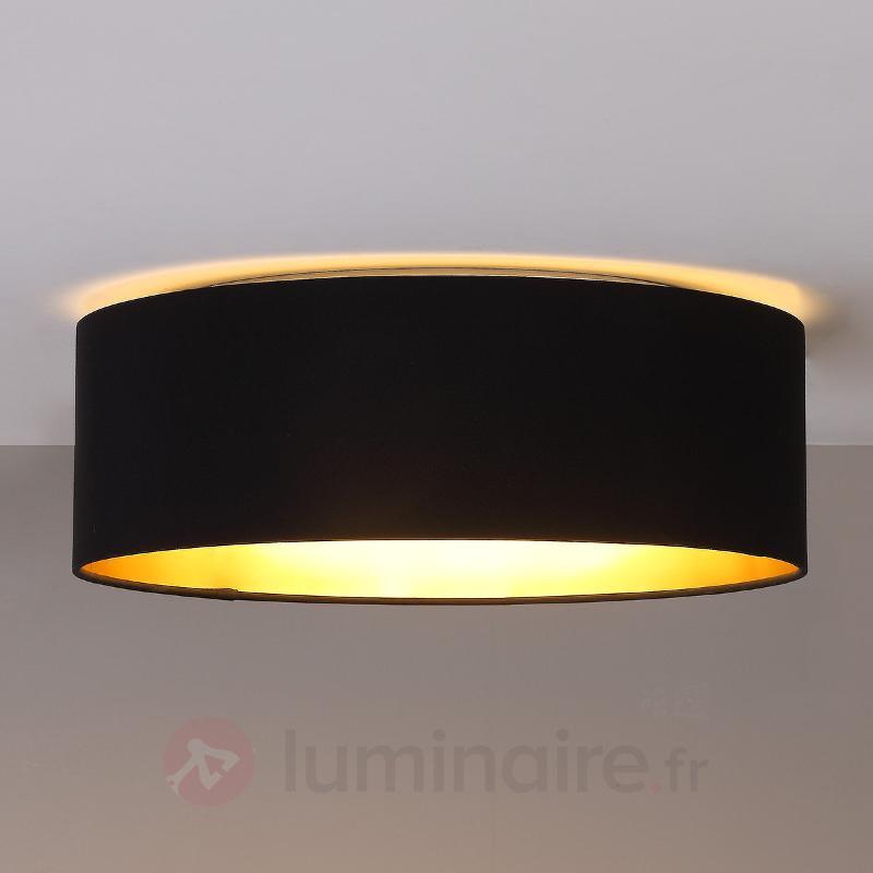 Plafonnier LED noir Coleen doré à l'intérieur - Plafonniers en tissu