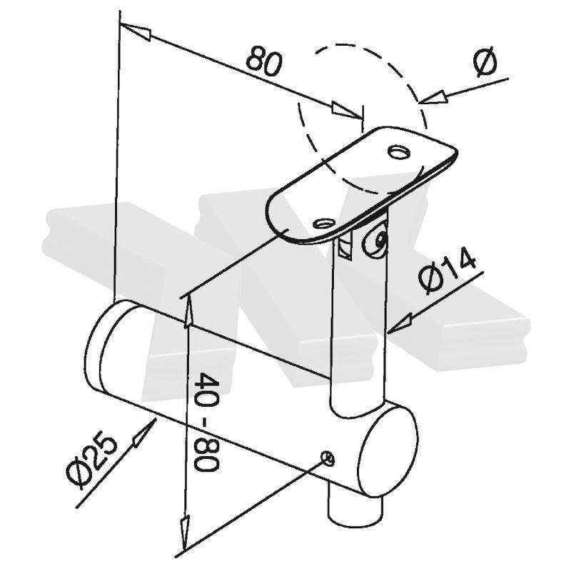 Handrail bracket flat connection, flexible - Handrail brackets