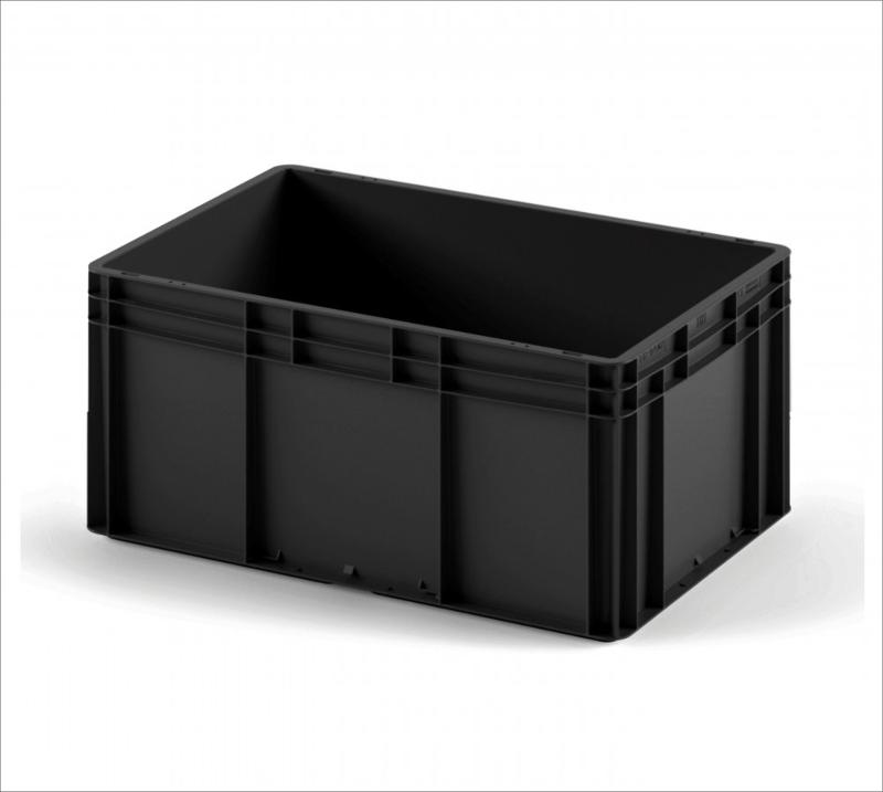 Plastic crate 800х600х320 black in colour with smooth... - Art.: 12.314