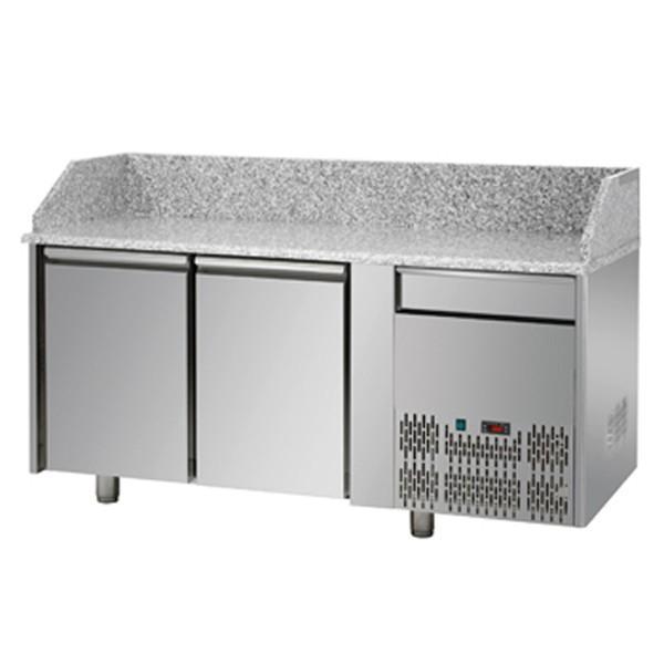 Meubles à Pizzas 2 portes réfrigérées avec 1 tiroir neutre - Référence PZ02SYCI