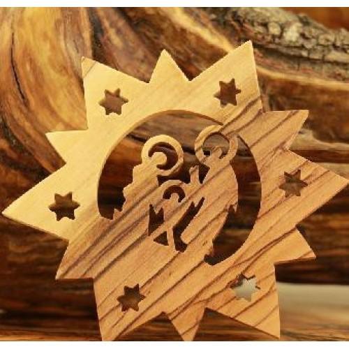 Olive Wood Ornament Bethlehem Star Holy Family -