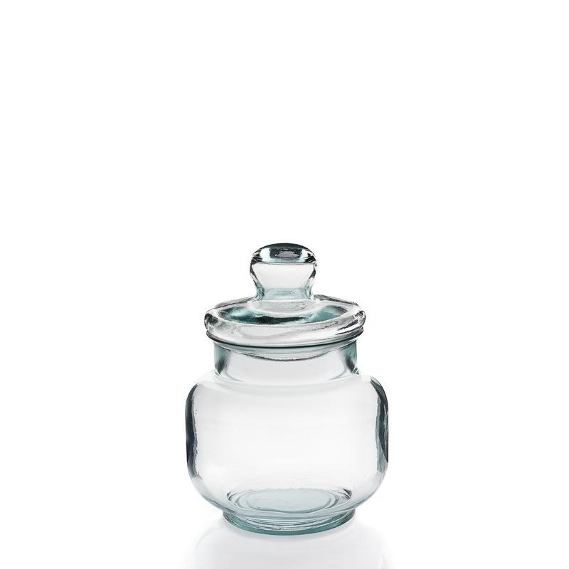 Grande vaso, bomboniera 3 litri, gamma TARRO LISO - di forma cilindrica, in vetro 100% riciclato, con coperchio in vetro