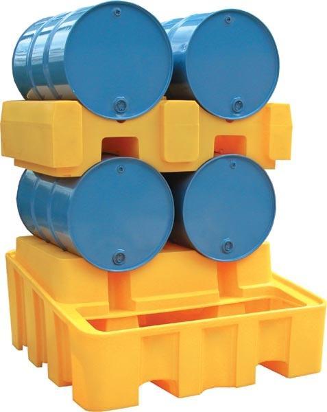 Bac de rétention PEHD - stockage 2 fûts couchés -... - BRPN 2FC Bacs de rétention acier et plastique