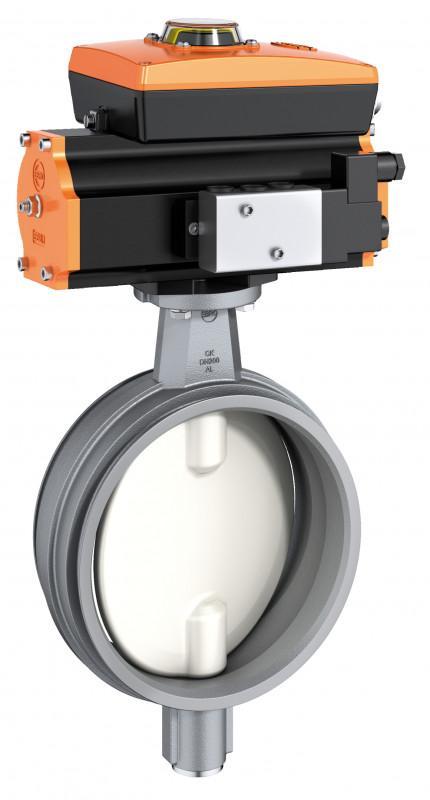 Vanne d'arrêt du système de tuyauterie type CK - Robinet à papillon avec les deux extrémités pour les anneaux de serrage.