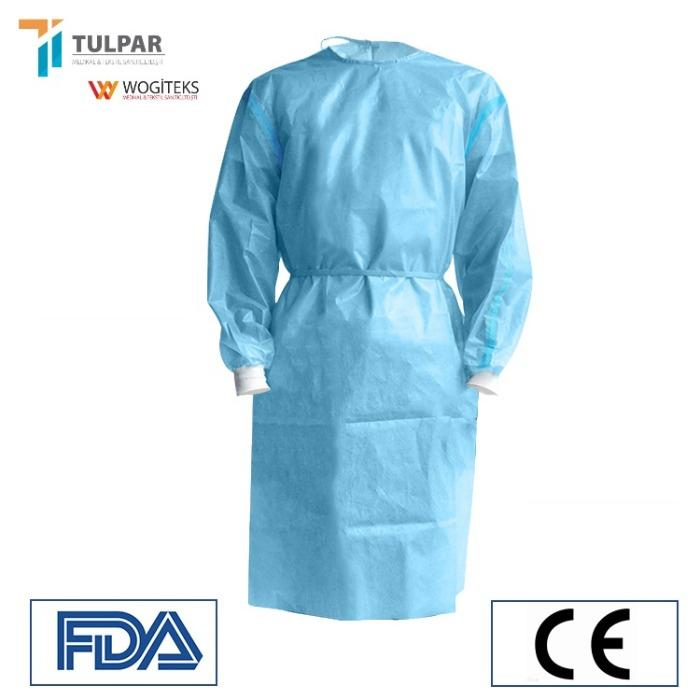 laminated protective surgical gown EN 14126 gown SMS  SMMS - SMS ,SMMS  materials ,blue colour ,45 , 55 gsm laminated protective gown