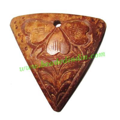 Handmade coconut shell wood pendants, size : 48x3mm - Handmade coconut shell wood pendants, size : 48x3mm