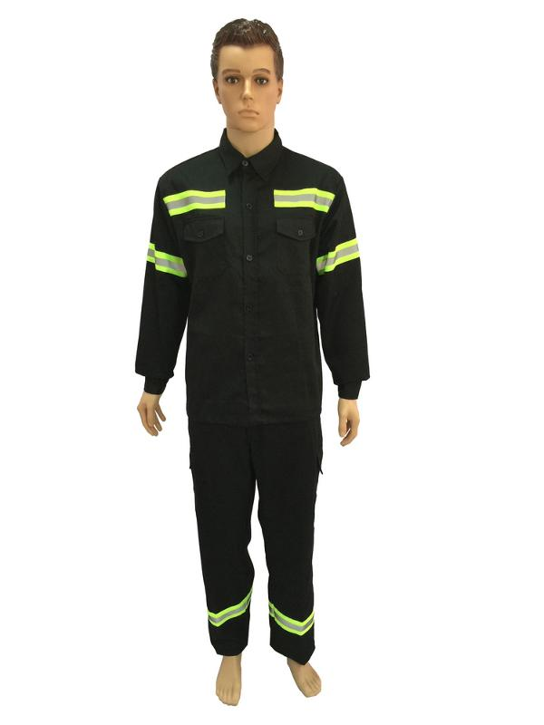 work suit with reflective woven tape on shoulder,arm and leg