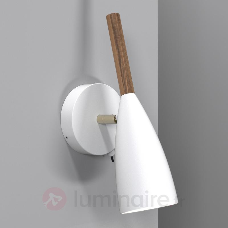 Applique LED Pure blanche avec un élément en bois - Appliques LED
