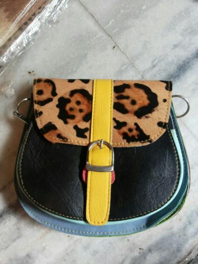 Fur Leather Ladies small bag       -        Leather multi sheep,goat,buffalo& fur