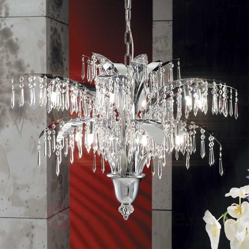 Lustre PHOEBE 12 ampoules, chromé - Lustres en cristal