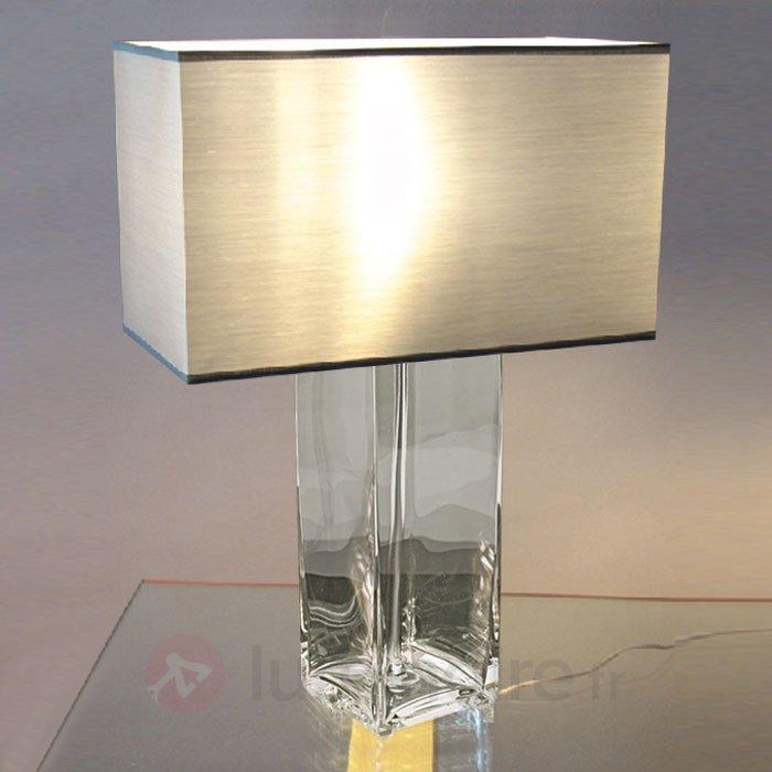 Lampe à poser coloris alu STEFANIE pied transp - Lampes à poser pour rebord de fenêtre