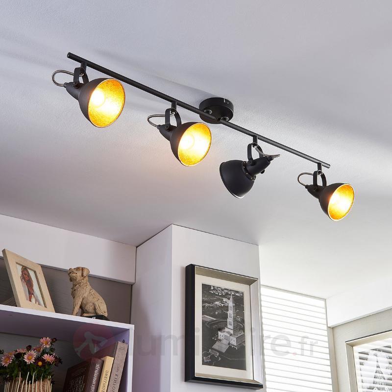 Projecteur de cuisine noir doré Julin, à 4 lampes - Tous les spots et projecteurs
