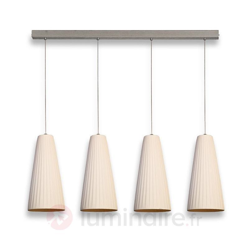 Suspension à 6 lampes Konte abat-jour synthétique - Cuisine et salle à manger