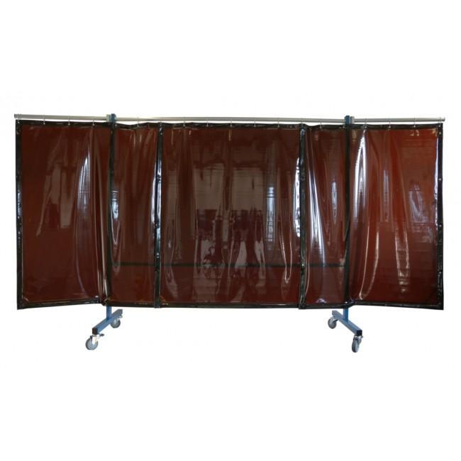 Mobile Schweißerschutzwand - Mit 0,4mm starken Vorhängen, 3-teilig, fahrbar, Befestigt mit Karabinerhaken