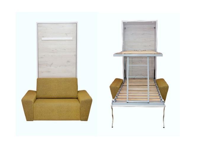 Litera vertical con sofá - Litera abatible con sillón delante.