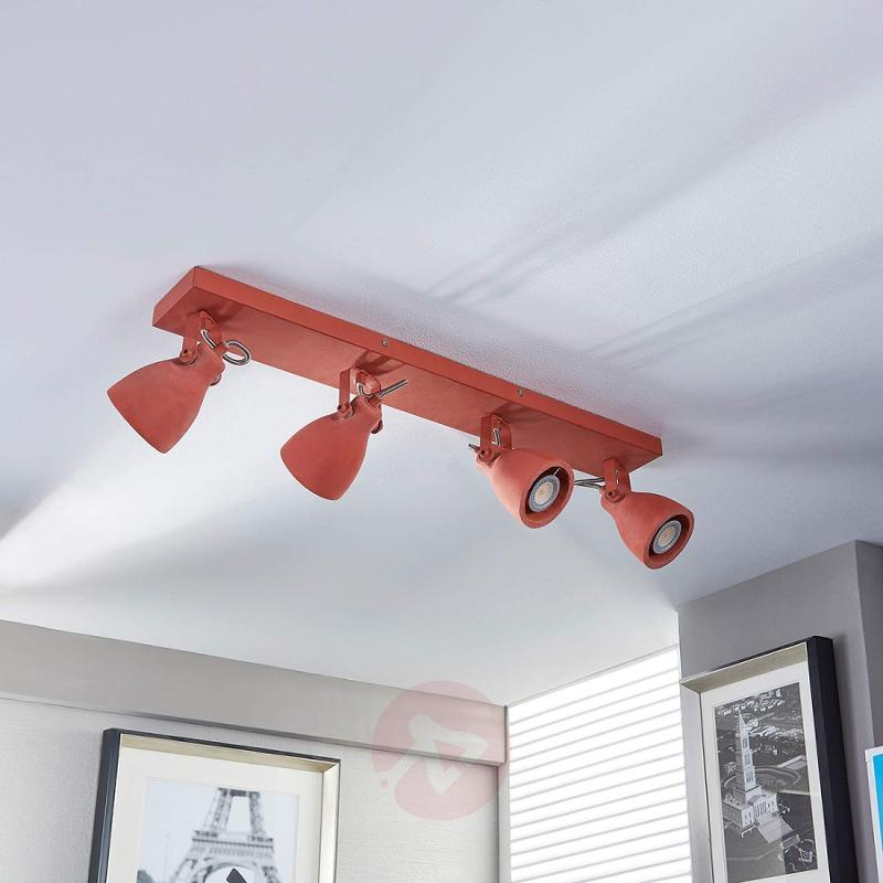 4-bulb LED ceiling lamp Kadiga in red - indoor-lighting