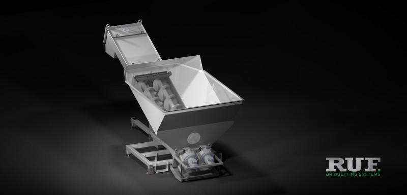 RUF Zubehör: Schneckenförderer, Aufgabetrichter - Aufgabetrichter mit Schneckenförderer zum Aufgeben & Transport von Schüttgut