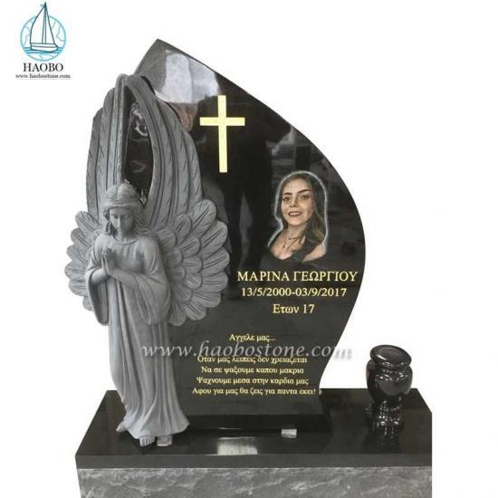 India Black Monument Standing Angel Statue Tombstone - Angel Headstone