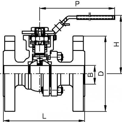 VANNE 2 PIÈCES À BRIDES AVEC PLATINE ISO INOX 316 - PASSAGE INTÉGRAL (5826)
