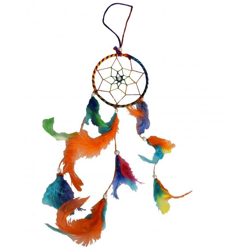 """Atrapasueños Multicolor Con Perlas 10cmø 4"""" - Atrapasueños"""