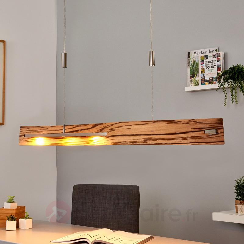 Talu - suspension LED en zebrano, variable - Suspensions en bois