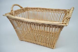 Panier blanchisseuse rectangulaire à jour osier blanc - null