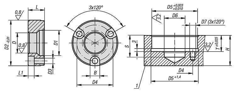 Douille de fixation forme B (montée vers l'avant) - BALL lock