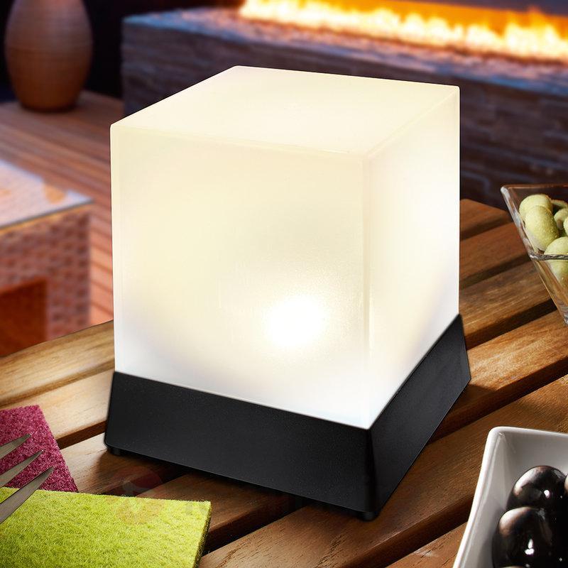 Lampe à poser LED solaire cubique Cube - Lampes solaires décoratives