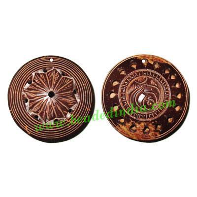 Handmade coconut shell wood pendants, size : 54x18mm - Handmade coconut shell wood pendants, size : 54x18mm