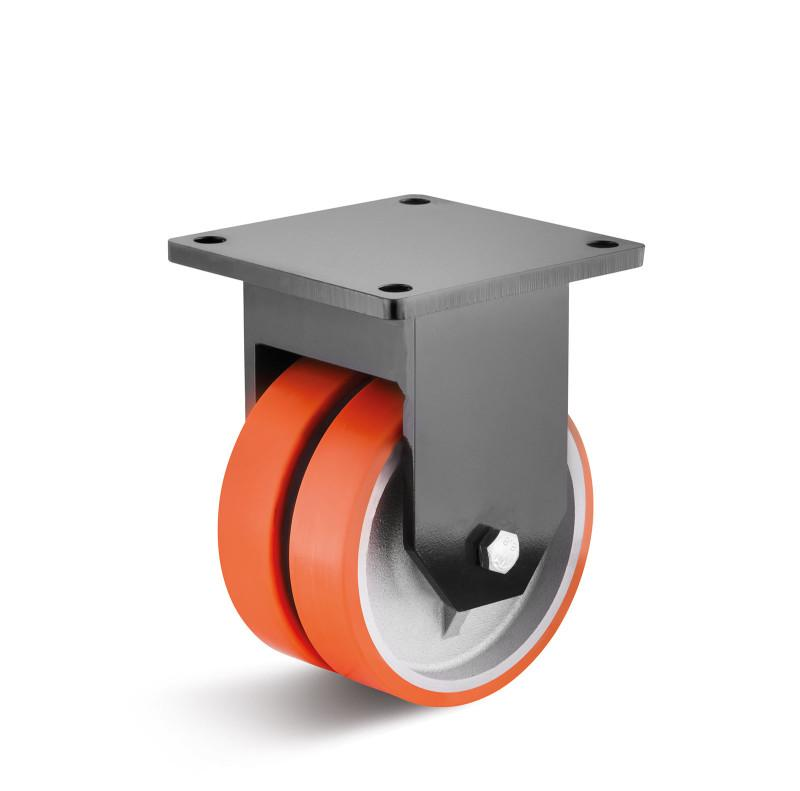 Polyurethane double castors for heavy loads up to 4,000 kg - PUZG wheel series in HD housing, heavy welded steel construction, painted black