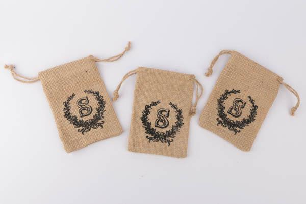 Printed Jute Pouch - Printed Jute Pouch, Gift Bag, Drawstring Bag, Burlap Pouch