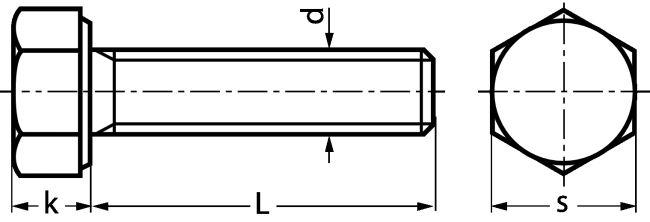 VIS A TETE HEXAGONALE ENTIEREMENT FILETEE - INOX A4-80 - DIN 933 - ISO 4017 - Inox A4-80