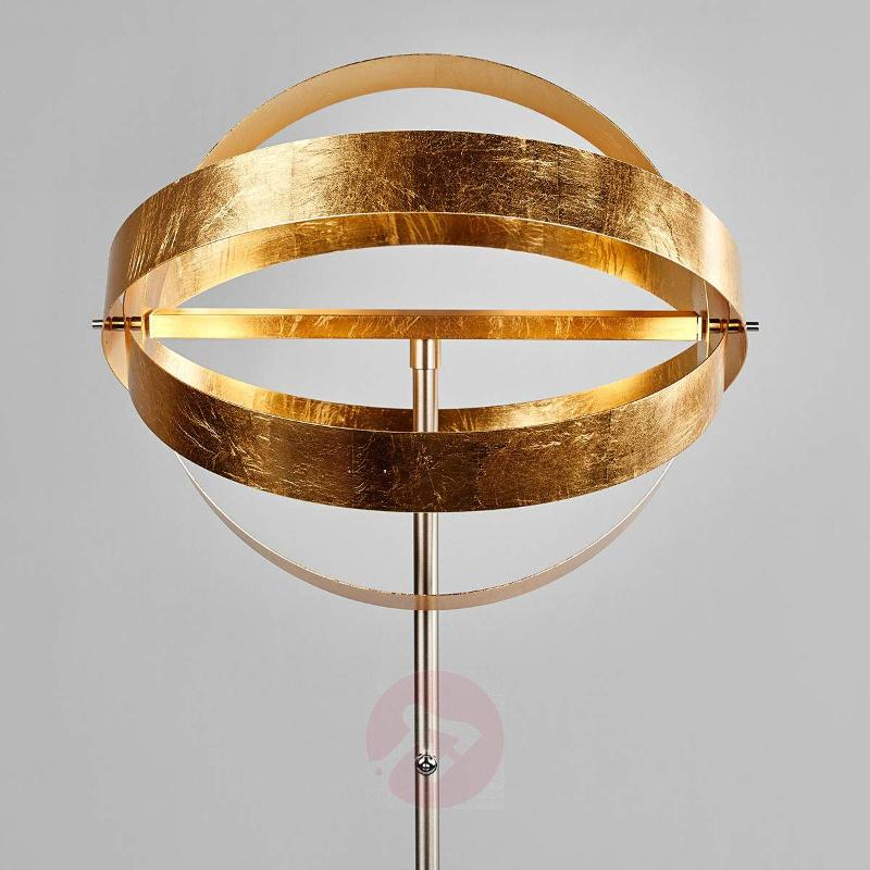 Shiny gold LED floor lamp Cara with touch dimmer - Floor Lamps